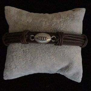 BROWN LEATHER/CORD FOOTBALL PULL STRING BRACELET